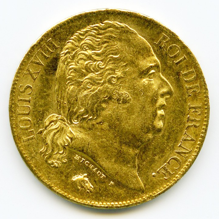 Louis XVIII - 20 Francs - 1819 A avers