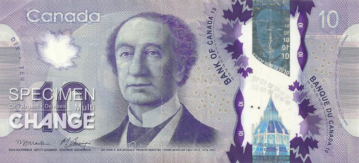 Nouveau billet de 10 dollars canadiens (CAD) recto