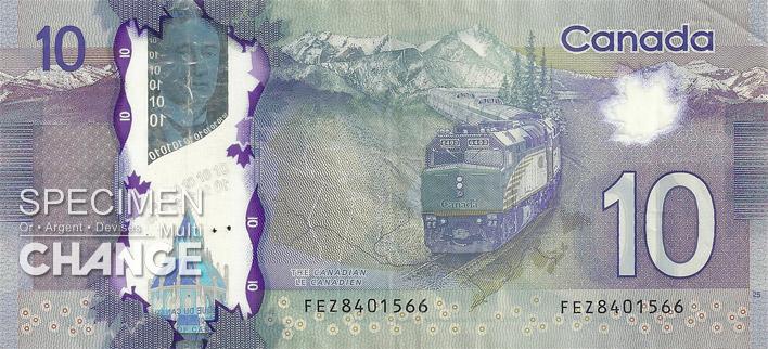 Nouveau billet de 10 dollars canadiens (CAD) verso