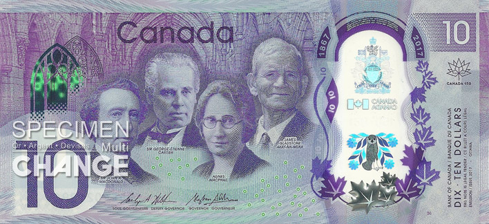 Billet commémoratif de 10 dollars canadiens (CAD) recto