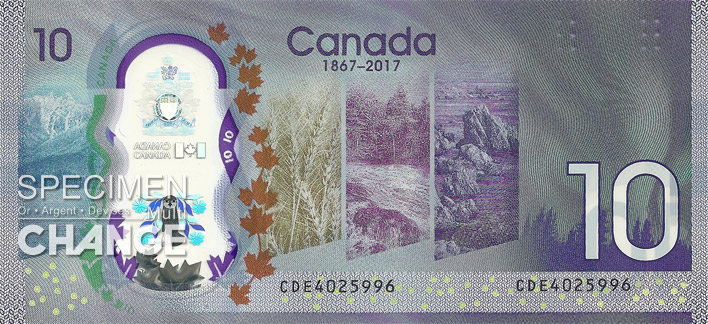 Billet commémoratif de 10 dollars canadiens (CAD) verso