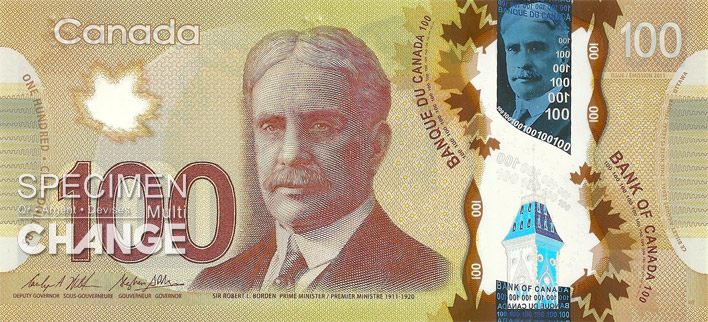 Billet de 100 dollars canadiens (CAD) recto