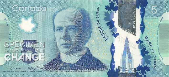 Nouveau billet de 5 dollars canadiens (CAD) recto