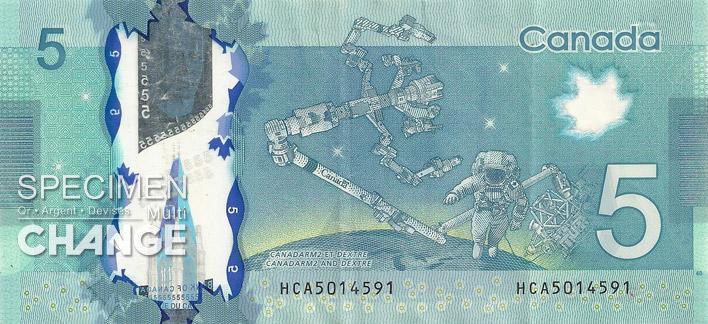 Nouveau billet de 5 dollars canadiens (CAD) verso