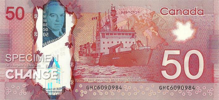 Nouveau billet de 50 dollars canadiens (CAD) verso