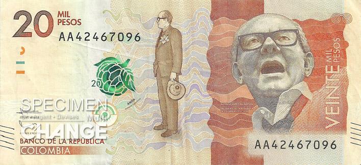 20000 pesos colombien recto (COP)