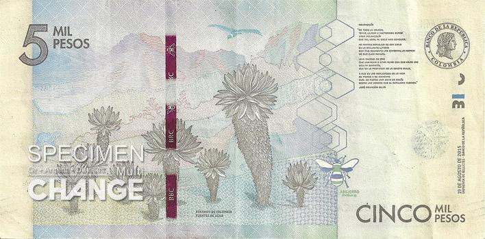 5000 pesos colombien verso (COP)