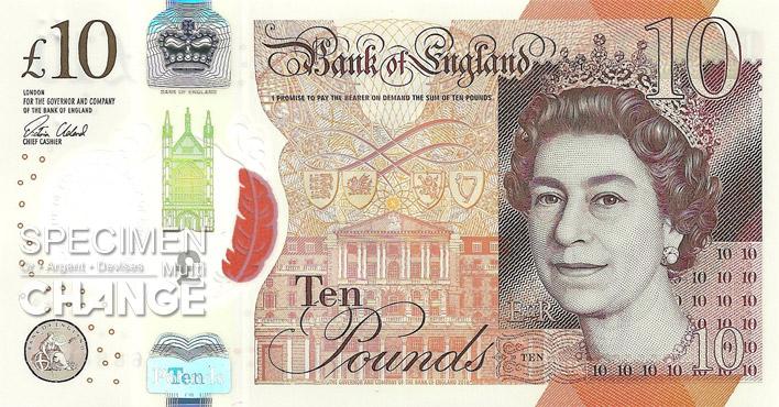 Nouveau 10 livres sterling (GBP) recto