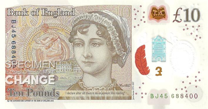 Nouveau 10 livres sterling (GBP) verso