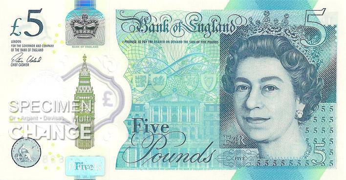 Nouveau 5 livres sterling (GBP) recto