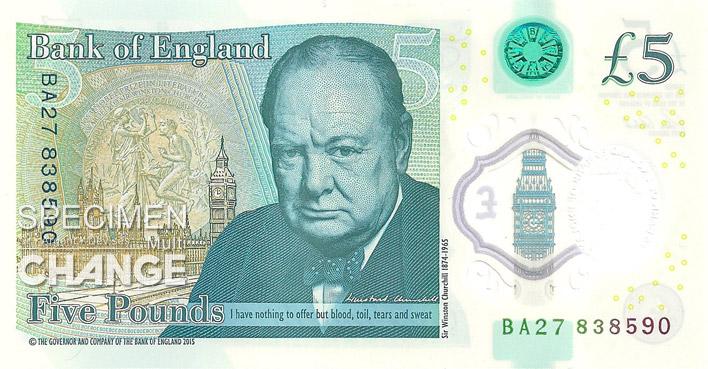Nouveau 5 livres sterling (GBP) verso