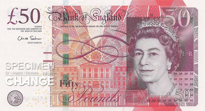 Nouveau 50 livres sterling (GBP) recto