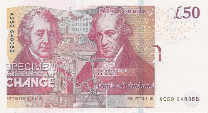 Nouveau 50 livres sterling (GBP) verso
