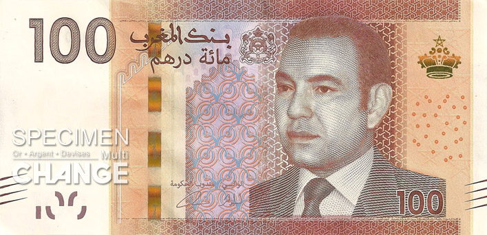 100 dirhams marocains (MAD) recto