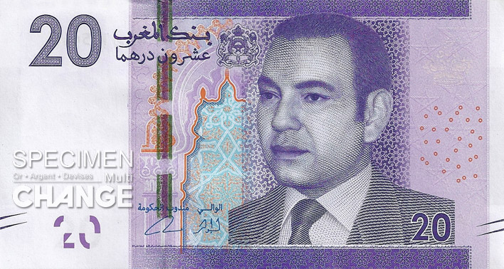 20 dirhams marocains (MAD) recto