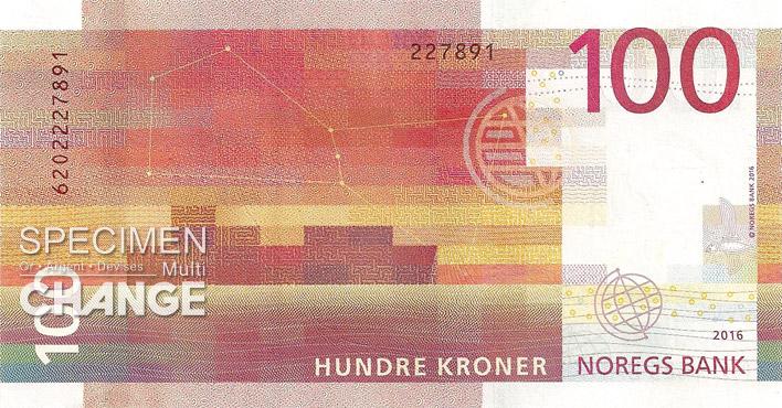 Billet de 100 couronnes norvégiennes (NOK) verso