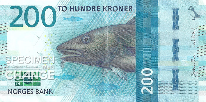 Billet de 200 couronnes norvégiennes (NOK) recto