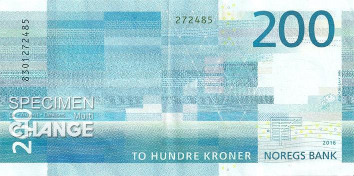 Billet de 200 couronnes norvégiennes (NOK) verso