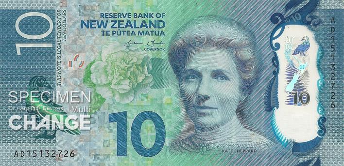 10 dollars néo-zélandais (NZD) recto