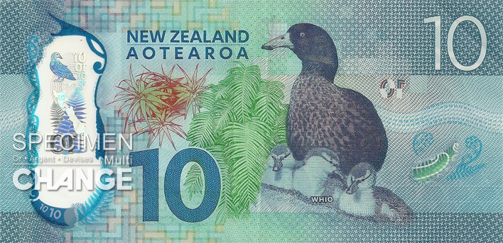 10 dollars néo-zélandais (NZD) verso