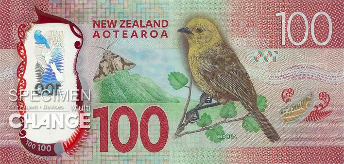 100 dollars néo-zélandais (NZD) verso
