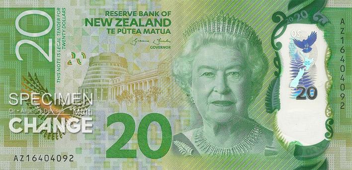 20 dollars néo-zélandais (NZD) recto