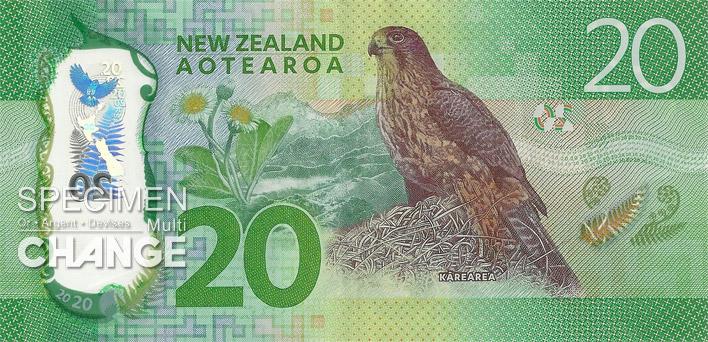 20 dollars néo-zélandais (NZD) verso