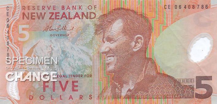 5 dollars néo-zélandais (NZD) recto