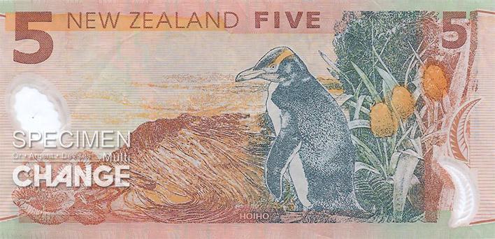 5 dollars néo-zélandais (NZD) verso