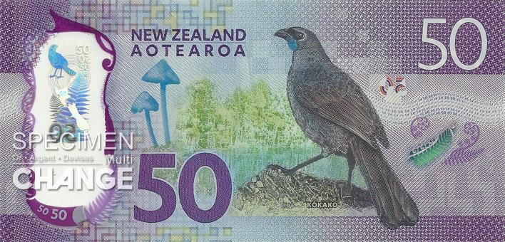 50 dollars néo-zélandais (NZD) verso