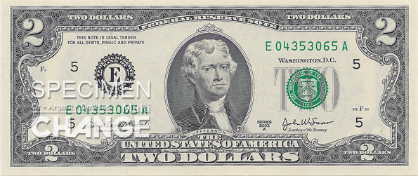 2 dollars américains (USD)