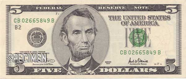 5 dollars am�ricains (USD)