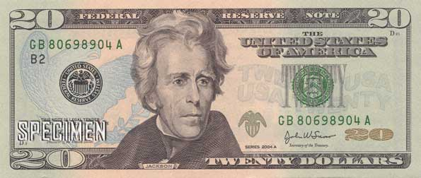 20 dollars am�ricains (USD)