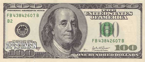 100 dollars am�ricains (USD)