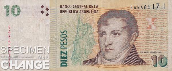 10 pesos argentins (ARS)