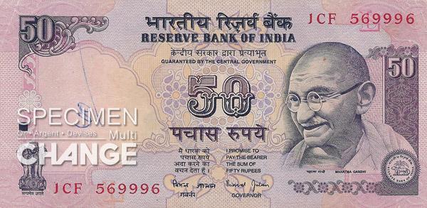 50 roupies indiennes (INR)