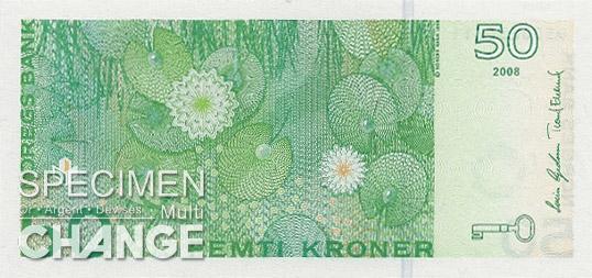 50 couronnes norvégiennes (NOK) verso