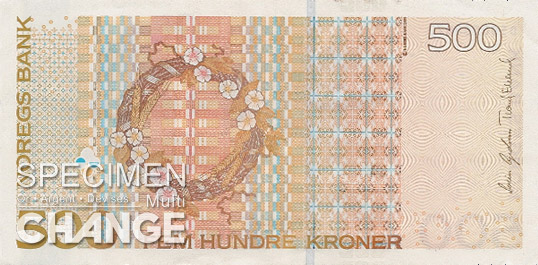 500 couronnes norvégiennes (NOK) verso