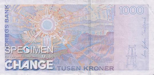 1.000 couronnes norvégiennes (NOK) verso