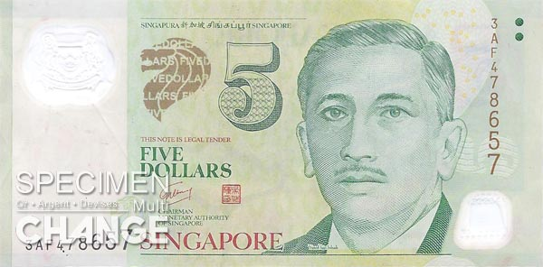 5 dollars singapouriens (SGD)